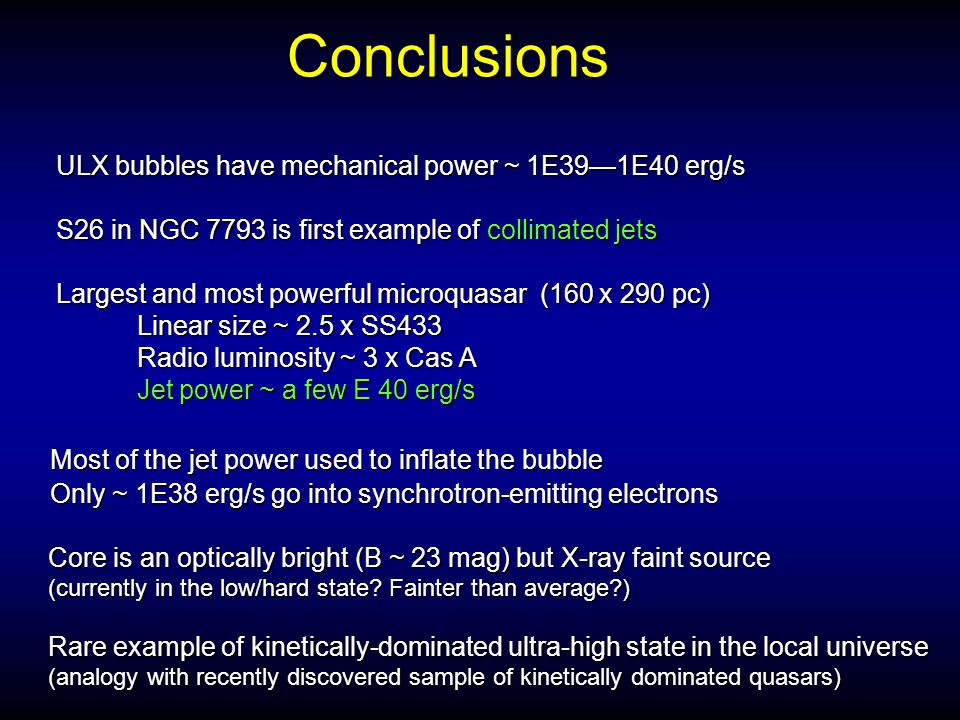 Conclusions ULX bubbles have mechanical power ~ 1E39—1E40 erg/s S26 in NGC 7793 is first example of collimated jets Most of the jet power used to infl