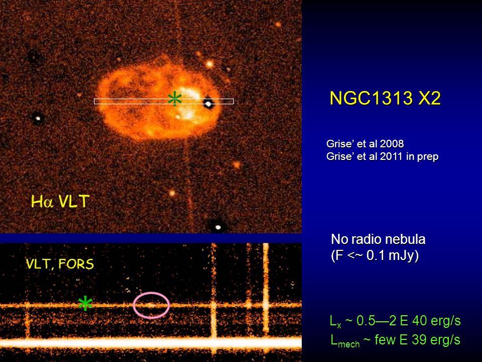 NGC1313 X2 Grise' et al 2008 Grise' et al 2011 in prep No radio nebula (F <~ 0.1 mJy) L mech ~ few E 39 erg/s L x ~ 0.5—2 E 40 erg/s