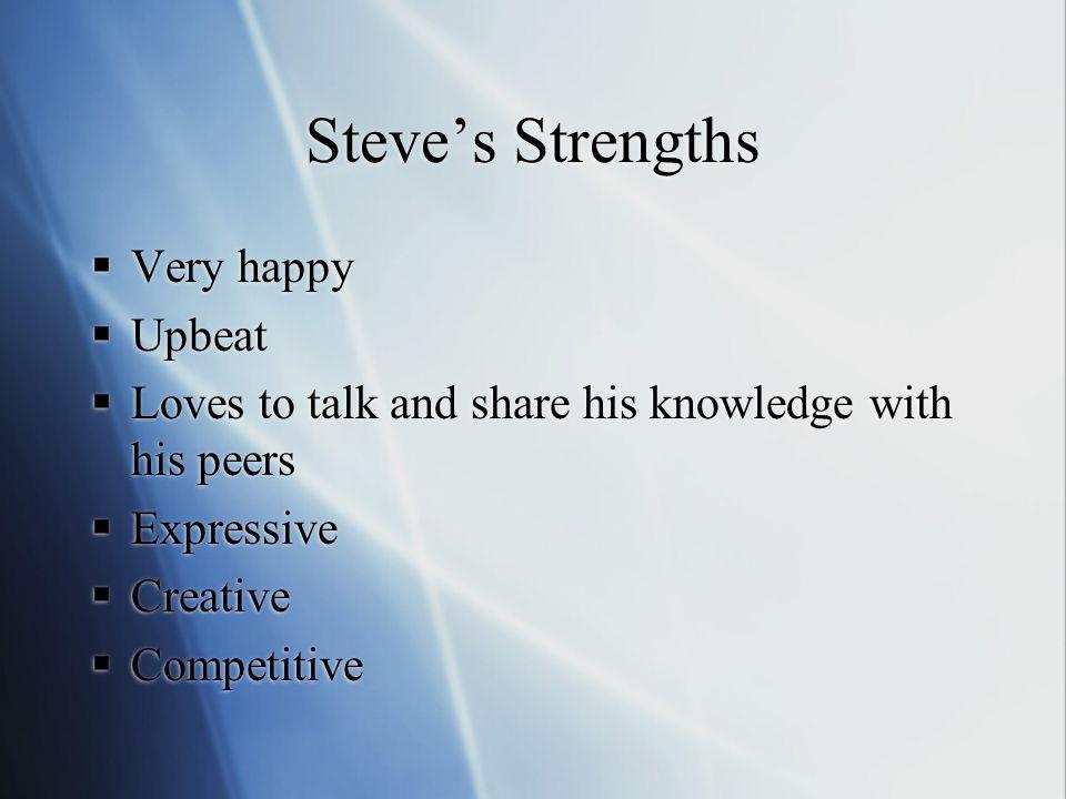 Steve's Weaknesses Steve can be seen….