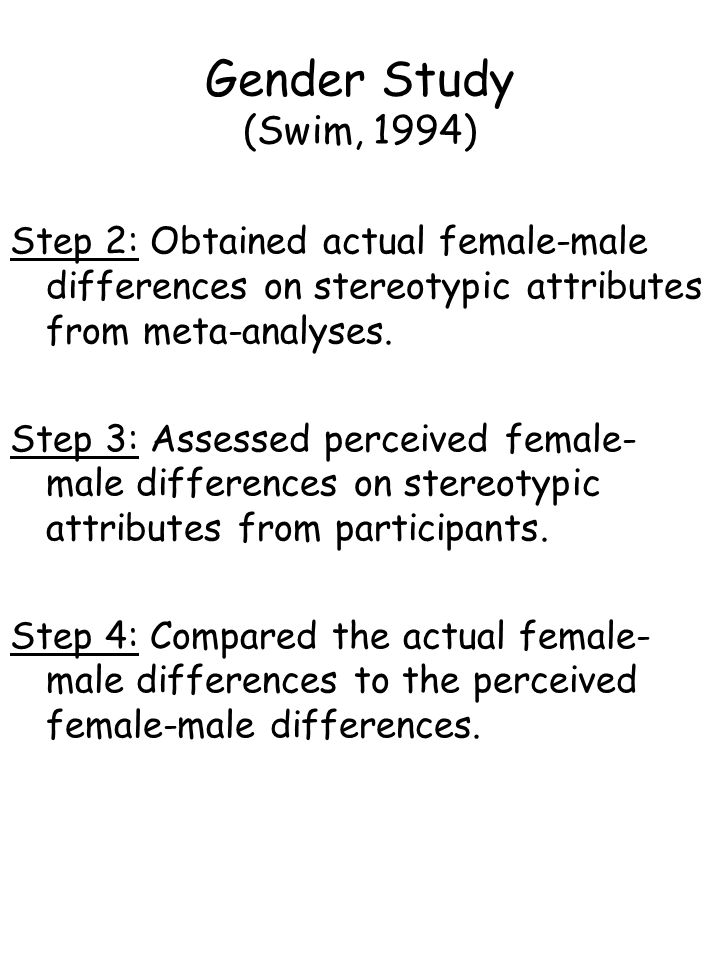 Gender Study (Swim, 1994) Step 2: Obtained actual female-male differences on stereotypic attributes from meta-analyses. Step 3: Assessed perceived fem