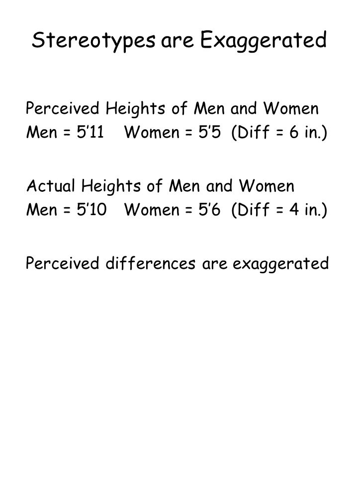 Stereotypes are Exaggerated Perceived Heights of Men and Women Men = 5'11 Women = 5'5 (Diff = 6 in.) Actual Heights of Men and Women Men = 5'10 Women