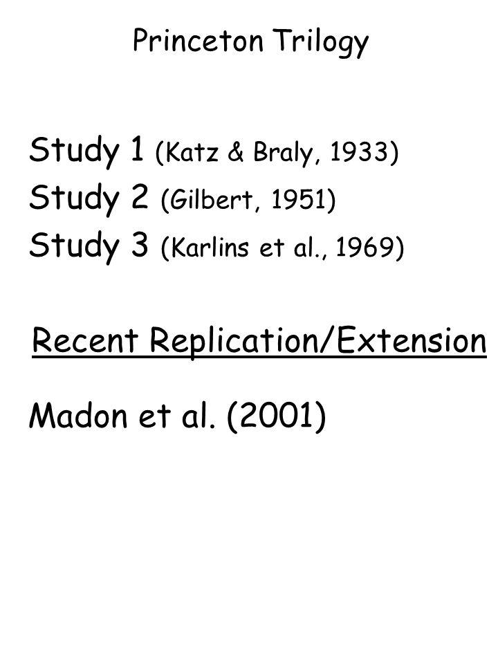 Princeton Trilogy Study 1 (Katz & Braly, 1933) Study 2 (Gilbert, 1951) Study 3 (Karlins et al., 1969) Recent Replication/Extension Madon et al.