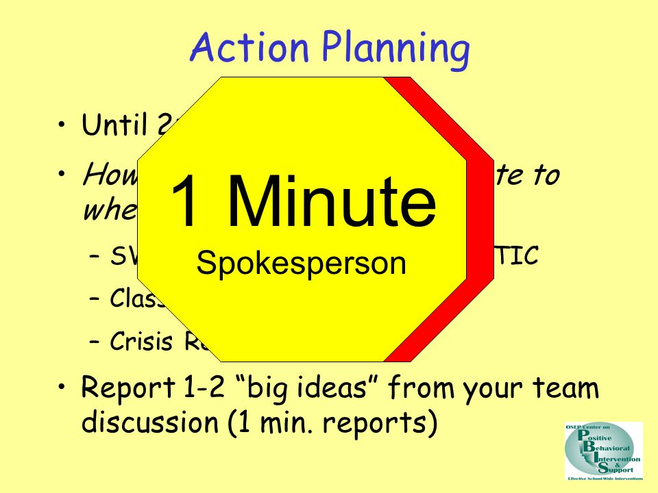 Action Planning Until 2:50 How does today's content relate to where we are.