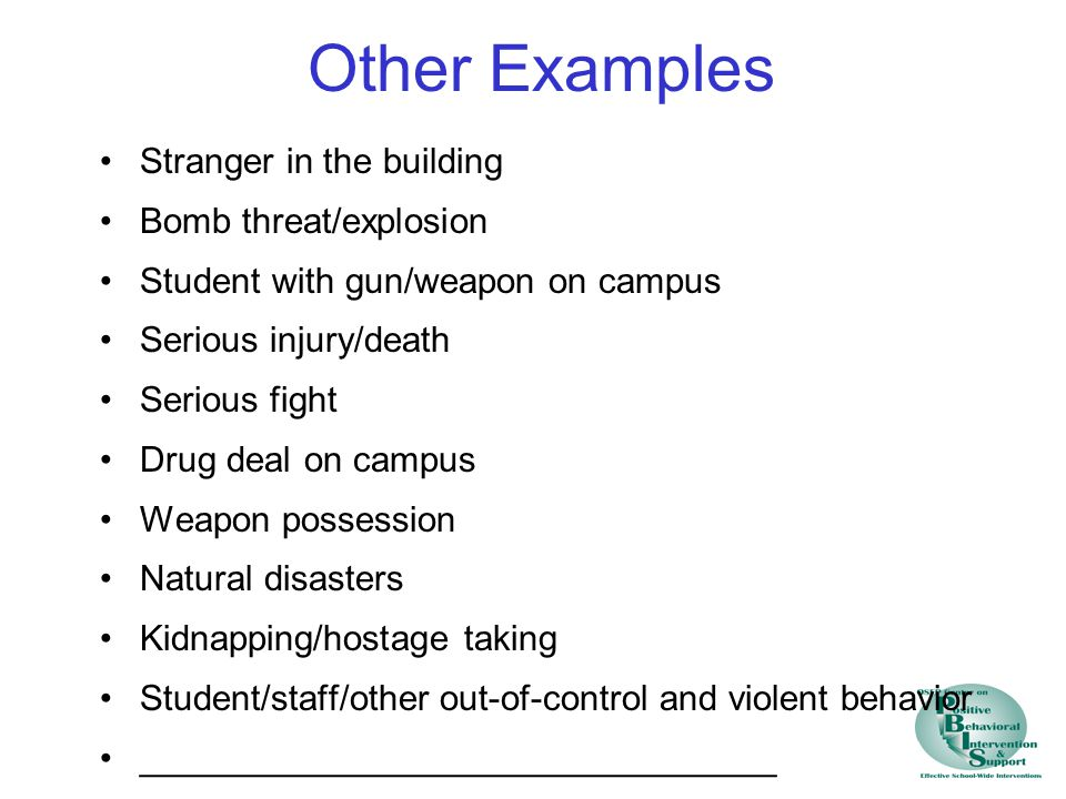 Other Examples Stranger in the building Bomb threat/explosion Student with gun/weapon on campus Serious injury/death Serious fight Drug deal on campus