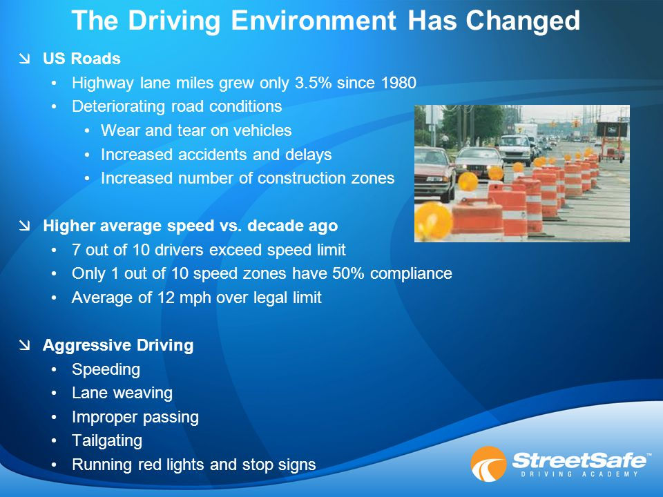 The Driving Environment Has Changed  US Roads Highway lane miles grew only 3.5% since 1980 Deteriorating road conditions Wear and tear on vehicles Increased accidents and delays Increased number of construction zones  Higher average speed vs.