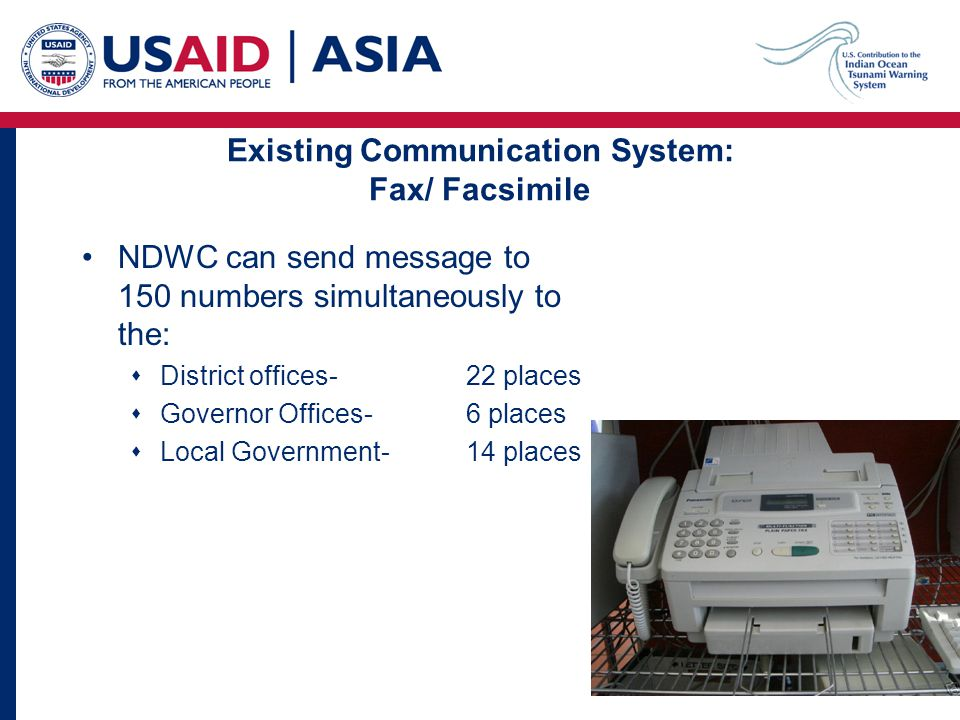 NDWC can send message to 150 numbers simultaneously to the:  District offices- 22 places  Governor Offices-6 places  Local Government- 14 places Existing Communication System: Fax/ Facsimile