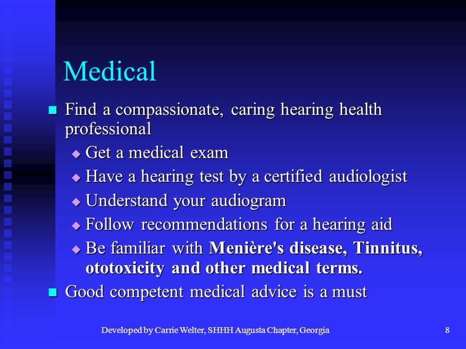 Developed by Carrie Welter, SHHH Augusta Chapter, Georgia19 Research What can we do for research in hearing loss.