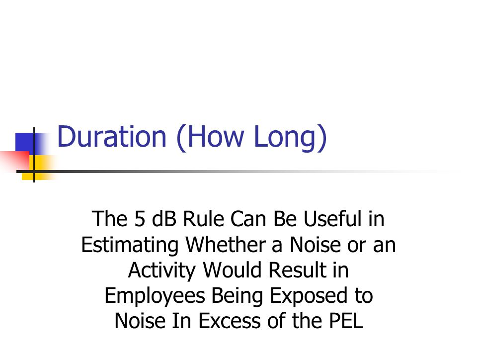 Duration (How Long) The 5 dB Rule Can Be Useful in Estimating Whether a Noise or an Activity Would Result in Employees Being Exposed to Noise In Excess of the PEL
