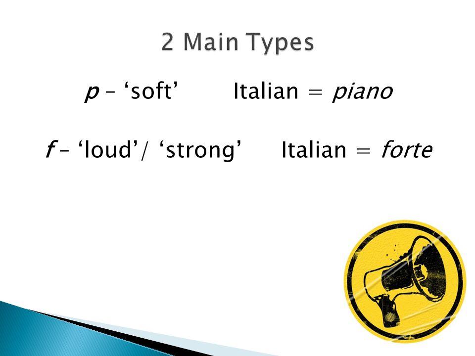 p – 'soft' Italian = piano f – 'loud'/ 'strong'Italian = forte