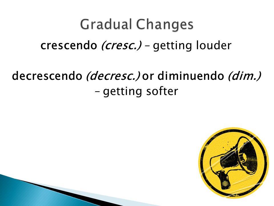 crescendo (cresc.) – getting louder decrescendo (decresc.) or diminuendo (dim.) – getting softer