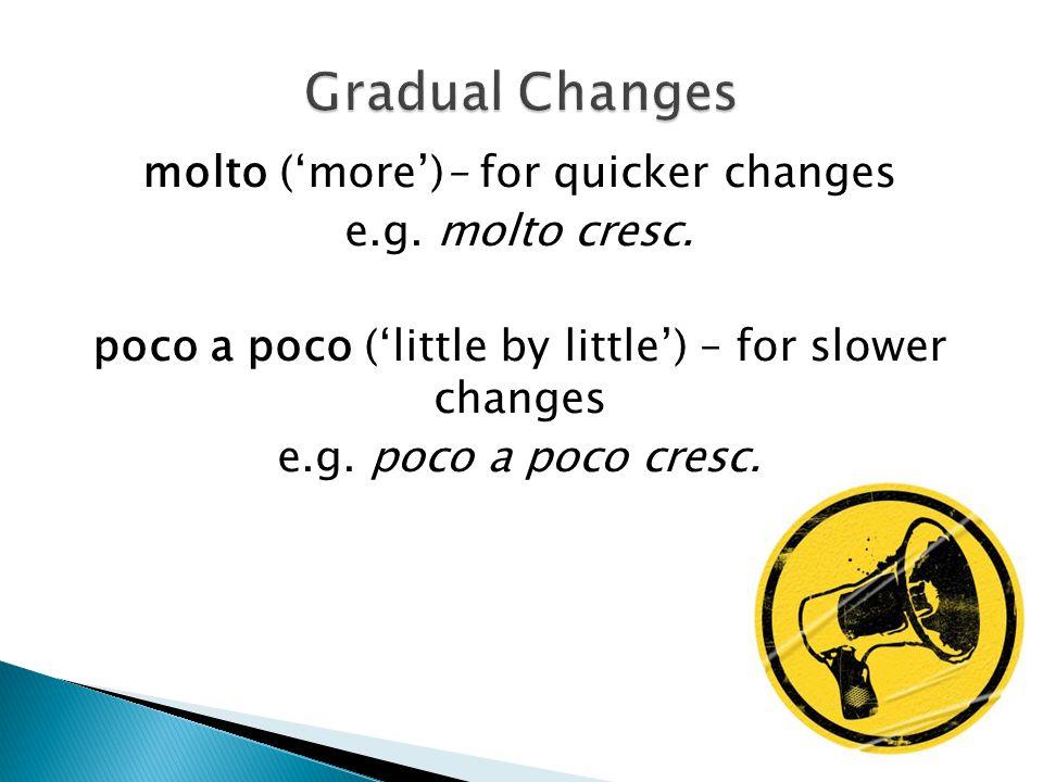 molto ('more')– for quicker changes e.g.molto cresc.