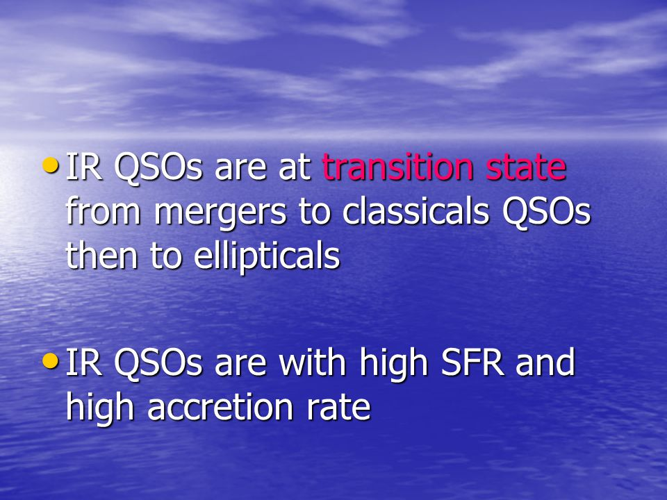 IR QSOs are at transition state from mergers to classicals QSOs then to ellipticals IR QSOs are at transition state from mergers to classicals QSOs th