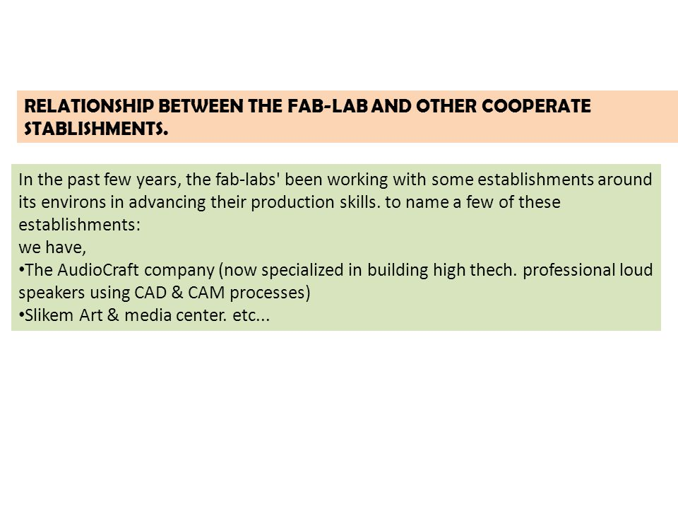 RELATIONSHIP BETWEEN THE FAB-LAB AND OTHER COOPERATE STABLISHMENTS.