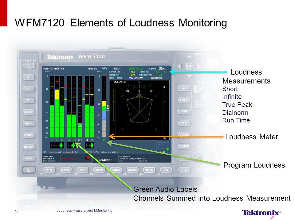 WFM7120 Elements of Loudness Monitoring Loudness Measurement & Monitoring 17 Loudness Meter Loudness Measurements Short Infinite True Peak Dialnorm Ru
