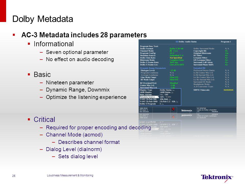 Dolby Metadata  AC-3 Metadata includes 28 parameters  Informational –Seven optional parameter –No effect on audio decoding  Basic –Nineteen paramet