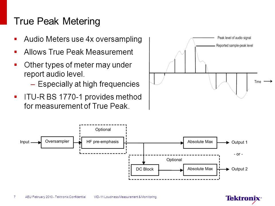 True Peak Metering  Audio Meters use 4x oversampling  Allows True Peak Measurement  Other types of meter may under report audio level. –Especially