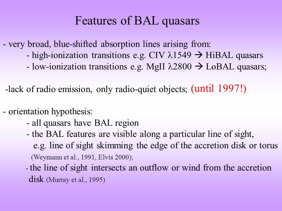 Radio-loud BAL quasars -discoveries of radio-loud BAL quasars: Becker et al., 1997; Becker et al., 2000 Menou et al., 2001; Brotherton et al., 1998 compact objects!wide range of orientation.