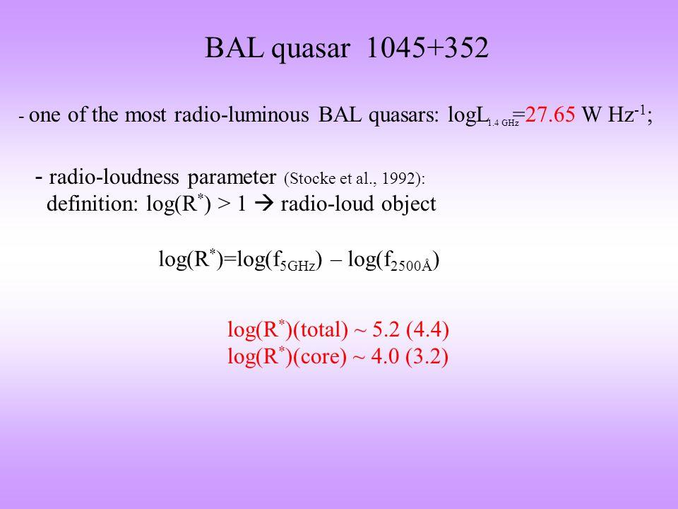 Orientation of 1045+352 log(R v )=log(L core ) + 0.4M v – 13.69 Wills & Brotherton, 1995, ApJ, 448, L81 5 GHz log(R v ) ~ 3.2  ~ 20°