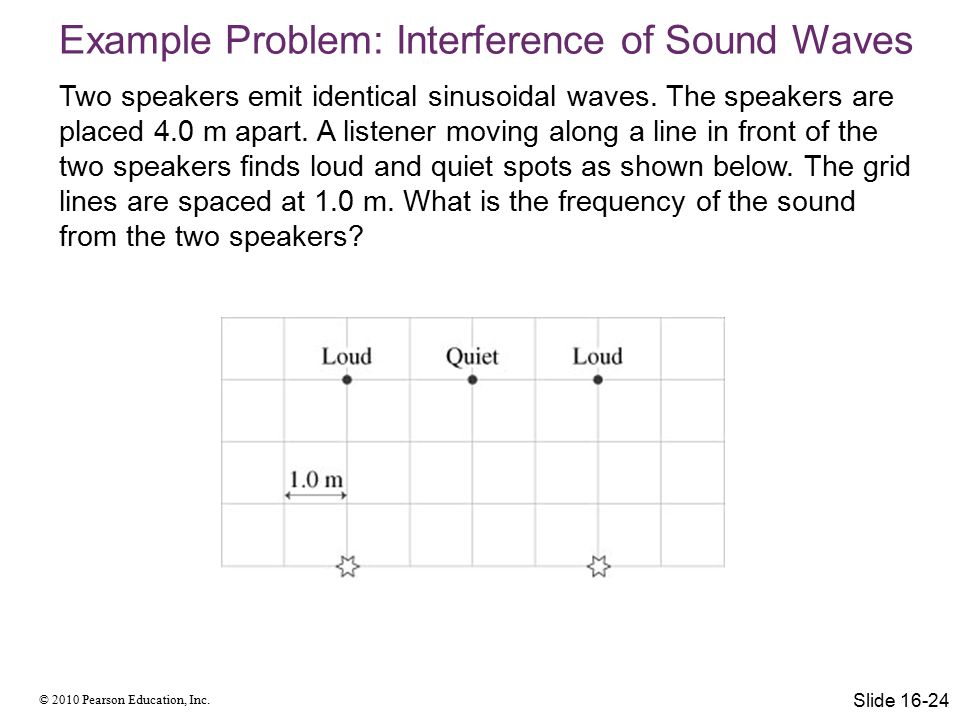 © 2010 Pearson Education, Inc. Two speakers emit identical sinusoidal waves.