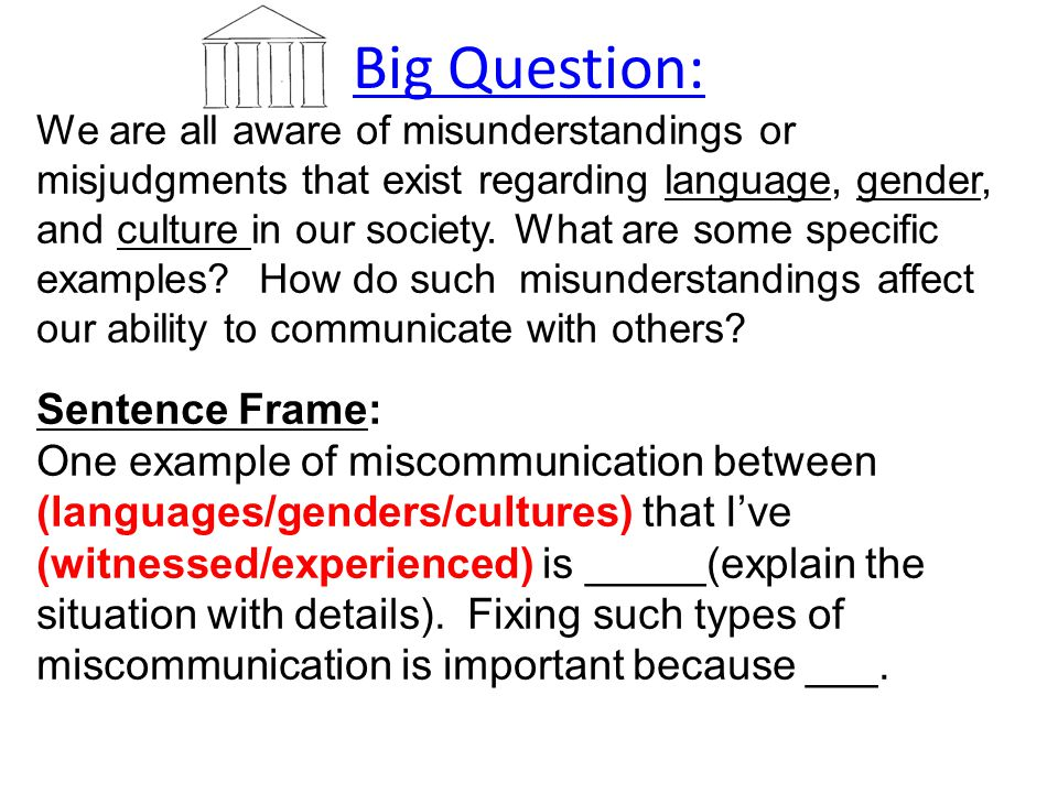 Big Question: We are all aware of misunderstandings or misjudgments that exist regarding language, gender, and culture in our society. What are some s