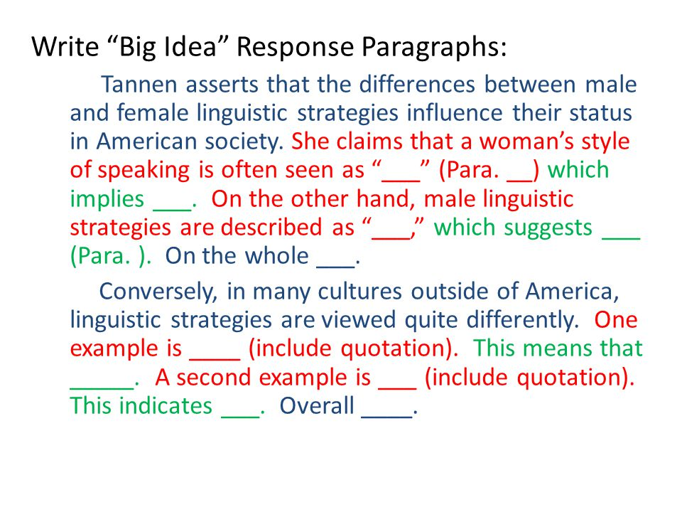 """Write """"Big Idea"""" Response Paragraphs: Tannen asserts that the differences between male and female linguistic strategies influence their status in Amer"""