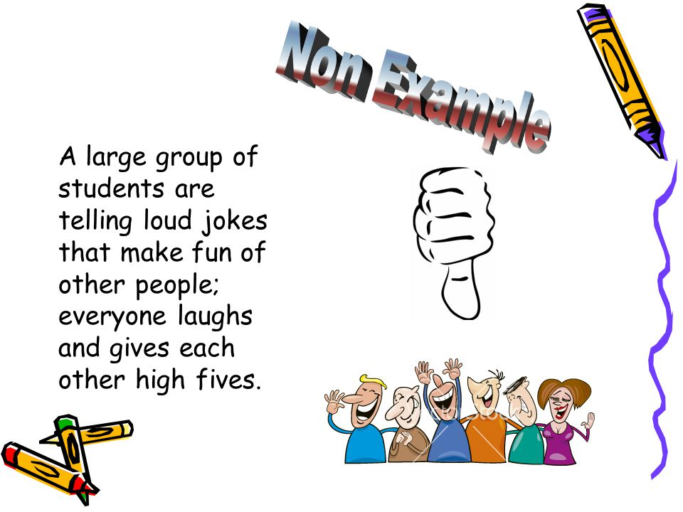A large group of students are telling loud jokes that make fun of other people; everyone laughs and gives each other high fives.