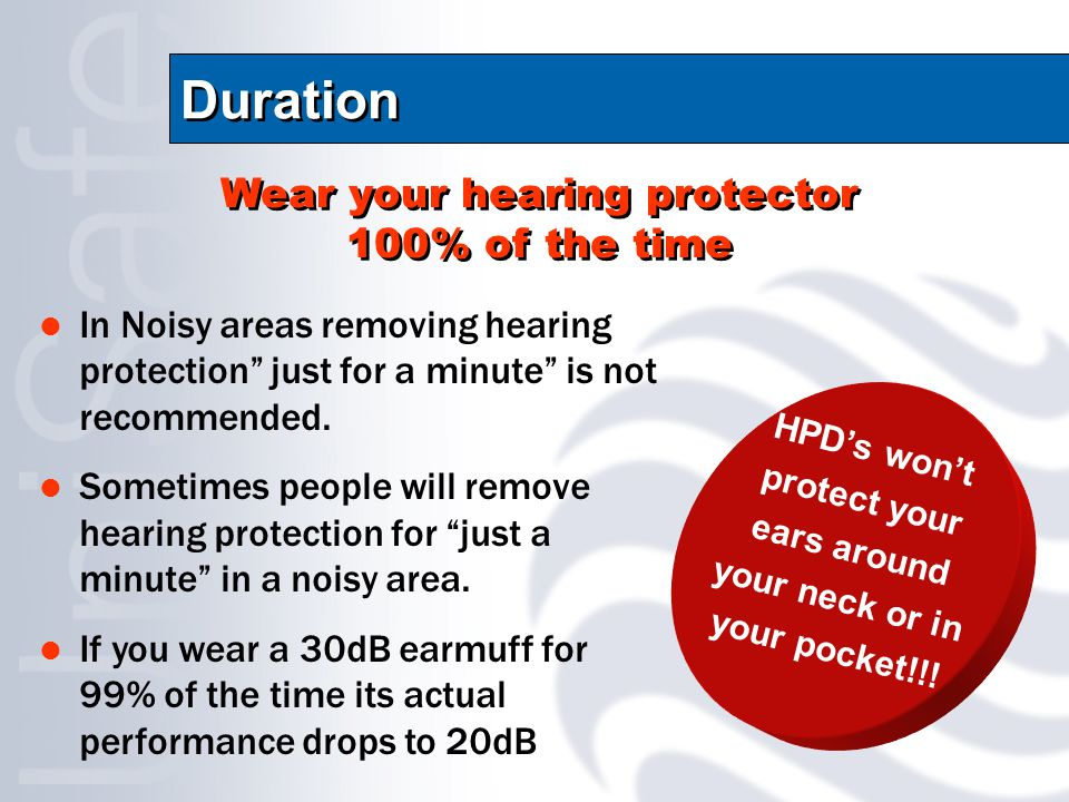 Duration In Noisy areas removing hearing protection just for a minute is not recommended.