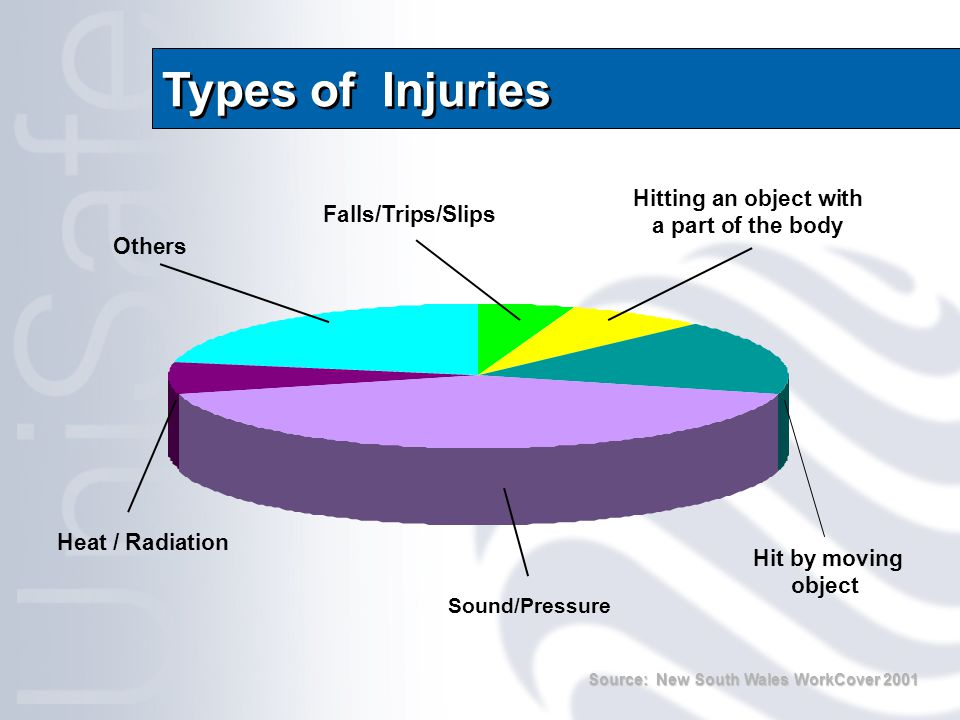 Types of Injuries Hit by moving object Hitting an object with a part of the body Falls/Trips/Slips Others Heat / Radiation Sound/Pressure Source: New South Wales WorkCover 2001