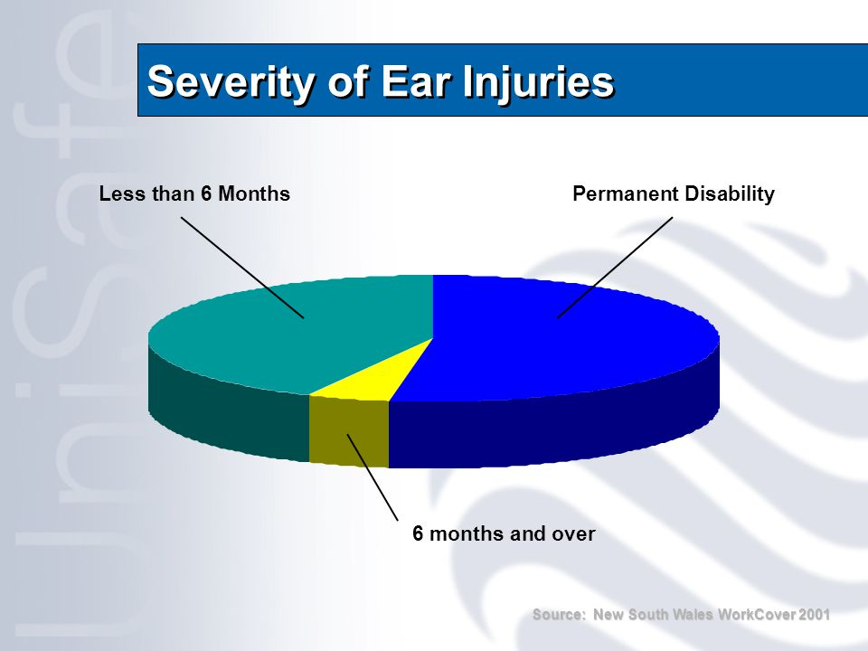 Severity of Ear Injuries Less than 6 Months 6 months and over Permanent Disability Source: New South Wales WorkCover 2001