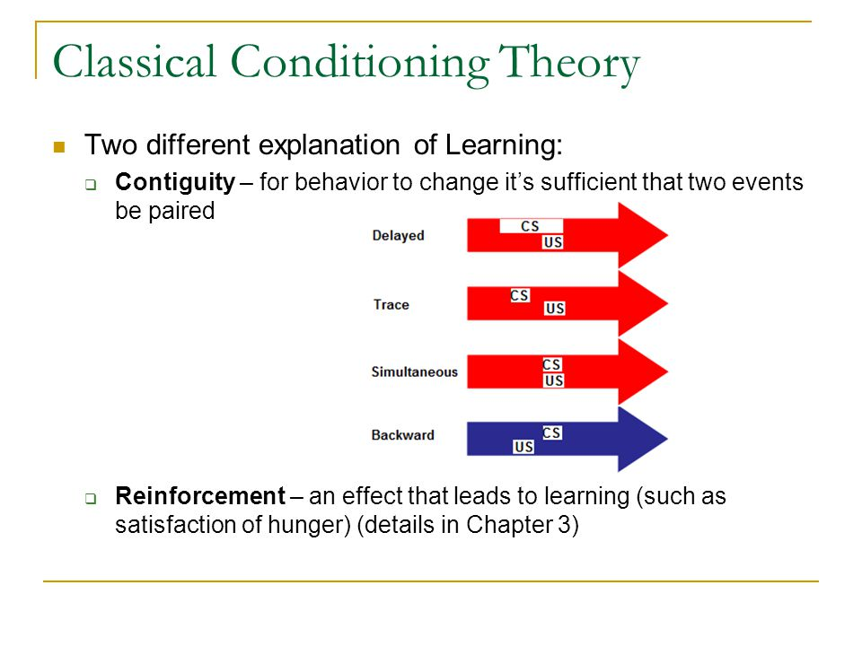 Phenomena in Classical Conditioning Learning curve Extinction and Recovery  conditioned associations are remarkably durable  spontaneous recovery (after some period of time) Generalization  salvation at wide range of tones