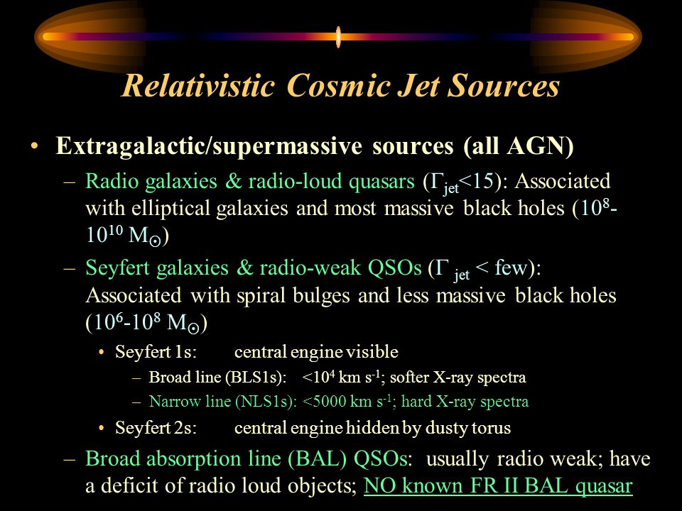 Relativistic Cosmic Jet Sources Extragalactic/supermassive sources (all AGN) –Radio galaxies & radio-loud quasars (  jet <15): Associated with elliptical galaxies and most massive black holes (10 8 - 10 10 M  ) –Seyfert galaxies & radio-weak QSOs (  jet < few): Associated with spiral bulges and less massive black holes (10 6 -10 8 M  ) Seyfert 1s:central engine visible –Broad line (BLS1s):<10 4 km s -1 ; softer X-ray spectra –Narrow line (NLS1s):<5000 km s -1 ; hard X-ray spectra Seyfert 2s:central engine hidden by dusty torus –Broad absorption line (BAL) QSOs: usually radio weak; have a deficit of radio loud objects; NO known FR II BAL quasar