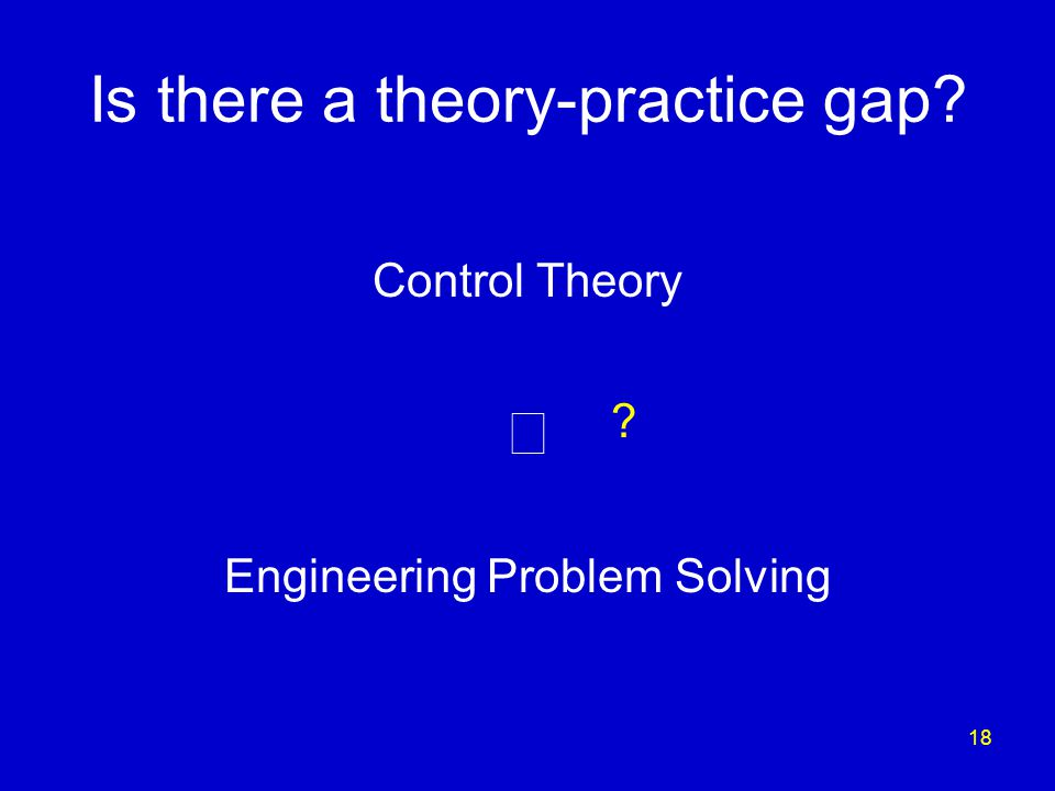 18 Is there a theory-practice gap Control Theory  Engineering Problem Solving