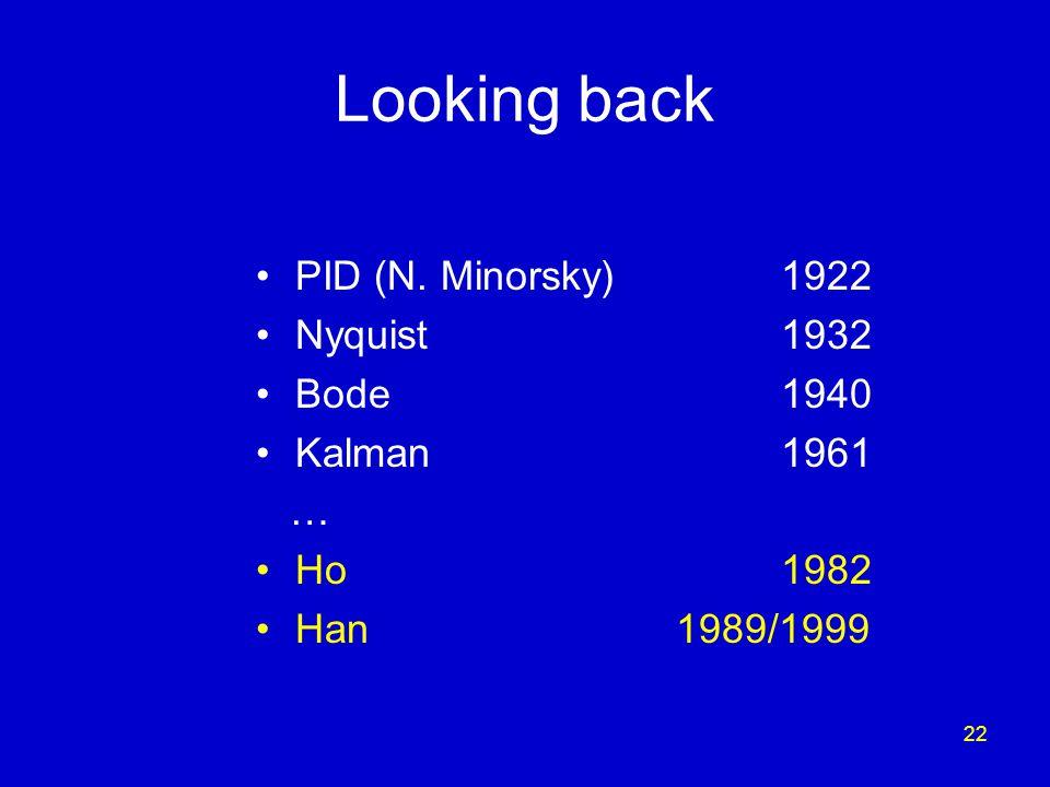 22 Looking back PID (N. Minorsky) 1922 Nyquist1932 Bode1940 Kalman1961 … Ho1982 Han1989/1999
