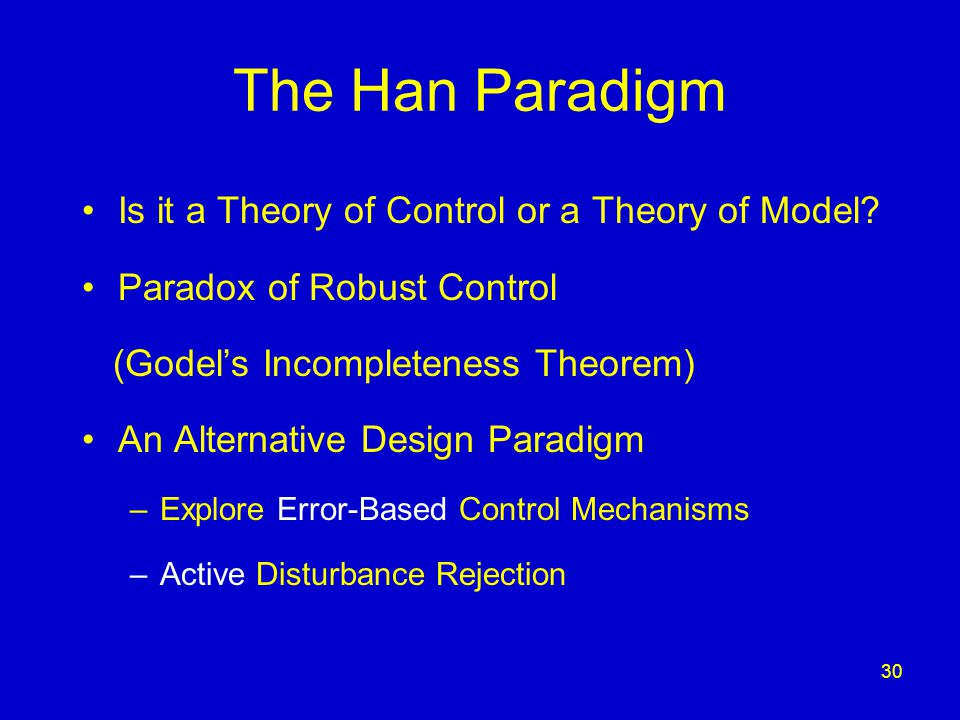 30 The Han Paradigm Is it a Theory of Control or a Theory of Model.