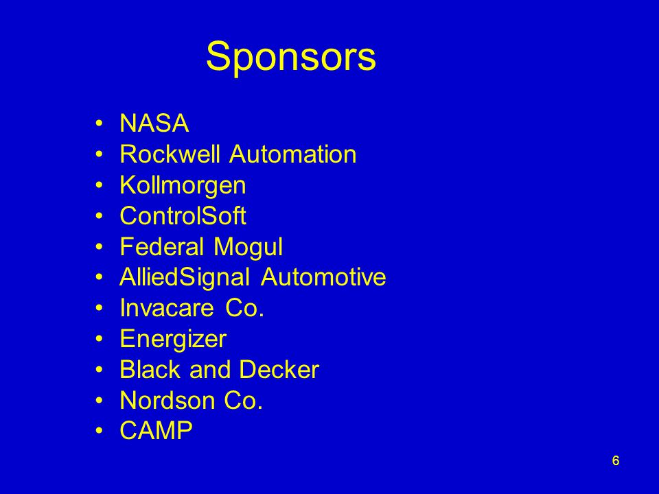 6 Sponsors NASA Rockwell Automation Kollmorgen ControlSoft Federal Mogul AlliedSignal Automotive Invacare Co.