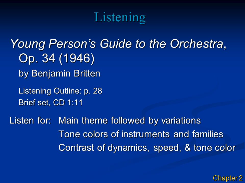 Listening Young Person's Guide to the Orchestra, Op.