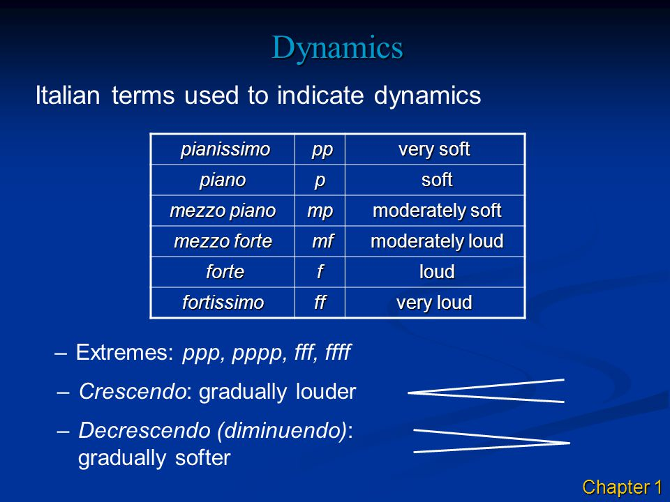 Dynamics Italian terms used to indicate dynamics –Extremes: ppp, pppp, fff, ffff –Crescendo: gradually louder –Decrescendo (diminuendo): gradually softer pianissimo pianissimo pp pp very soft pianop soft soft mezzo piano mp moderately soft moderately soft mezzo forte mf mf moderately loud moderately loud forte fortef loud loud fortissimoff very loud Chapter 1