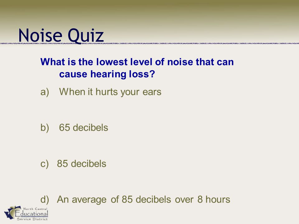 Noise Quiz What is the lowest level of noise that can cause hearing loss.