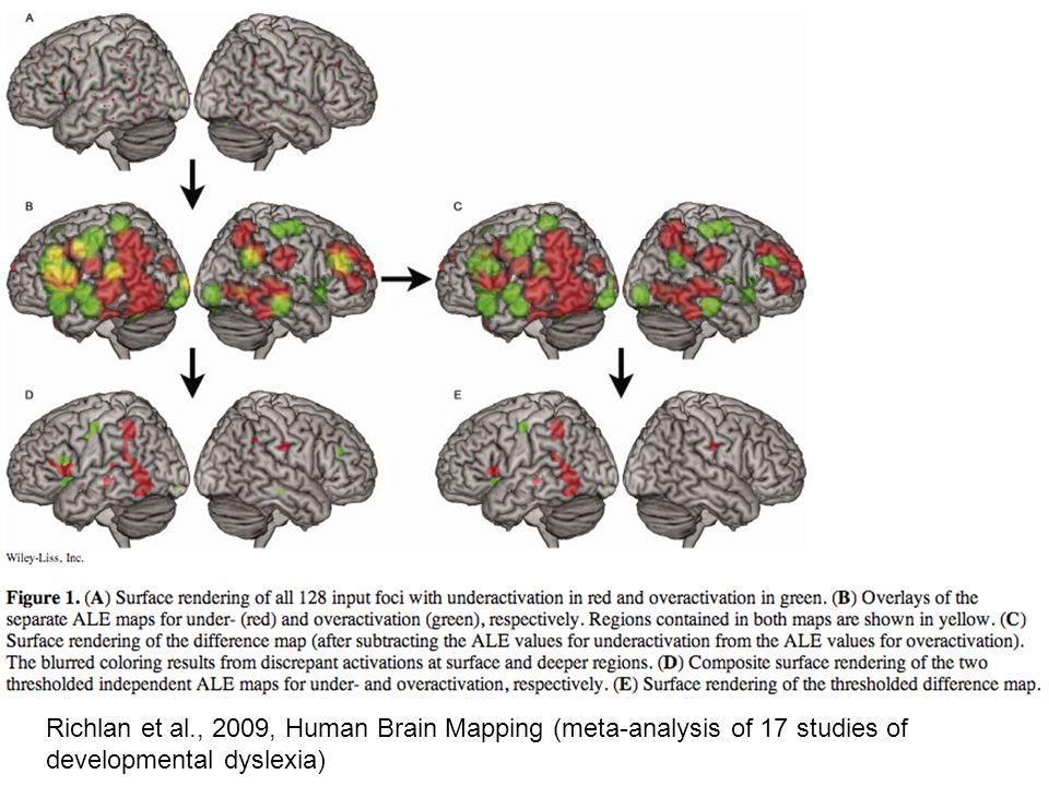Richlan et al., 2009, Human Brain Mapping (meta-analysis of 17 studies of developmental dyslexia)