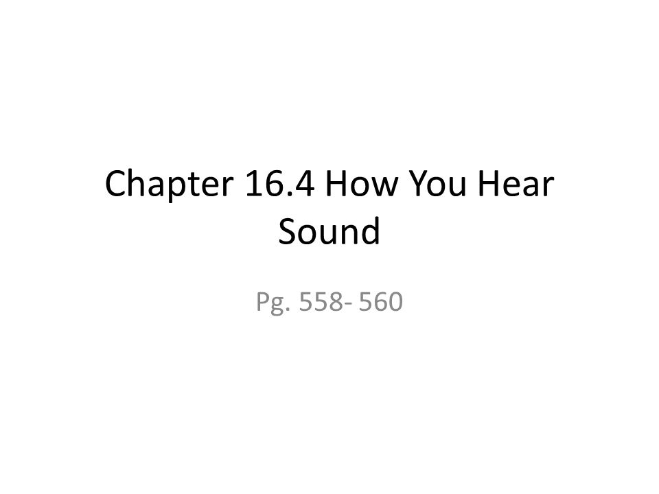 Chapter 16.4 How You Hear Sound Pg. 558- 560