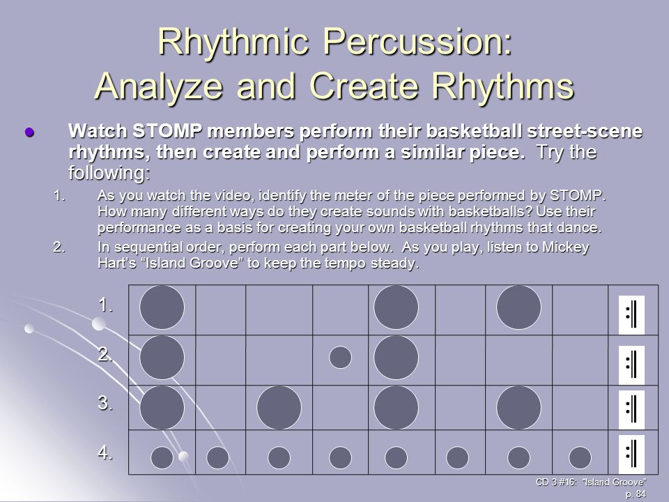 Rhythmic Percussion: Analyze and Create Rhythms Watch STOMP members perform their basketball street-scene rhythms, then create and perform a similar p