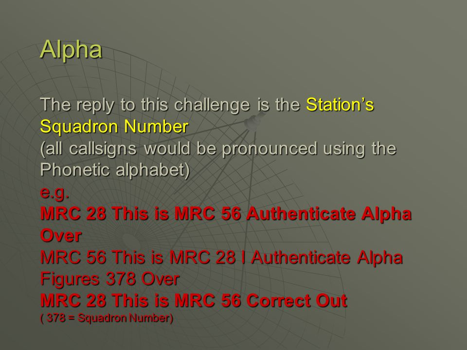 Alpha The reply to this challenge is the Station's Squadron Number (all callsigns would be pronounced using the Phonetic alphabet) e.g.