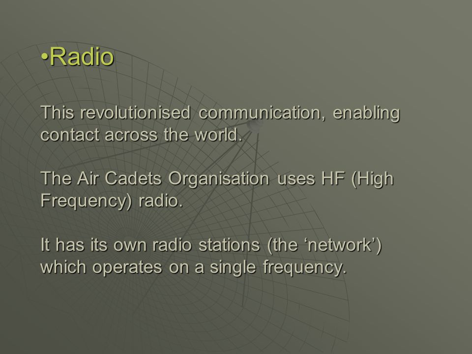 Directed Network This is a group of radio stations on the same frequency in communication with each other.
