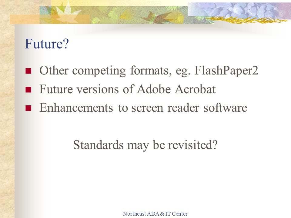 Northeast ADA & IT Center Future? Other competing formats, eg. FlashPaper2 Future versions of Adobe Acrobat Enhancements to screen reader software Sta