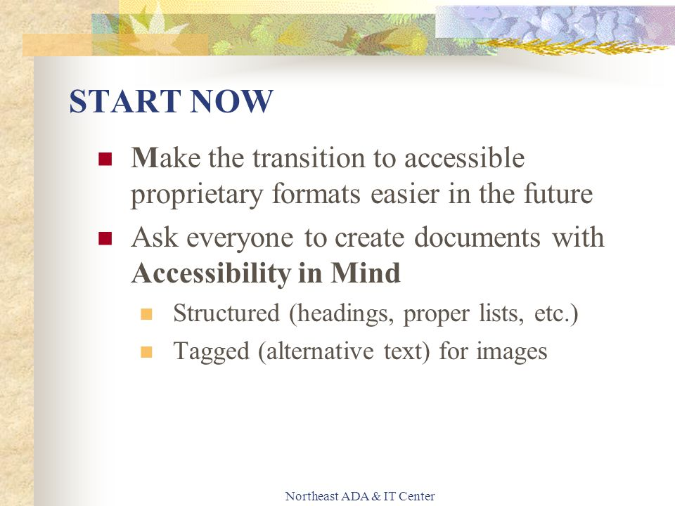 Northeast ADA & IT Center START NOW Make the transition to accessible proprietary formats easier in the future Ask everyone to create documents with A