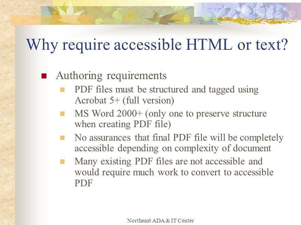 Northeast ADA & IT Center Why require accessible HTML or text.