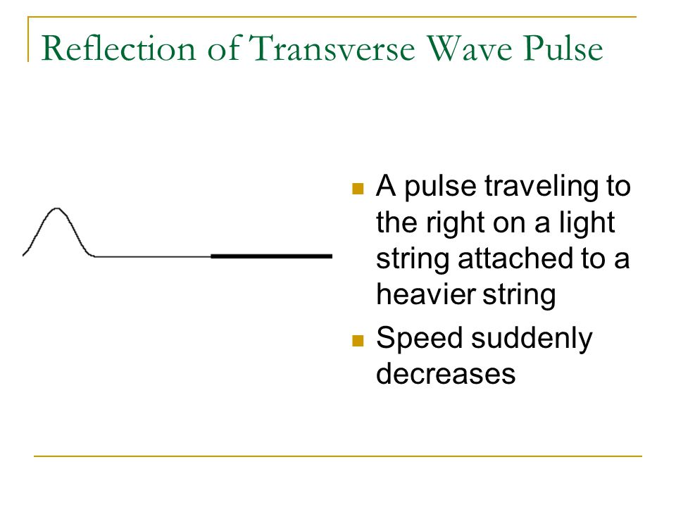 Reflection of Transverse Wave Pulse A pulse traveling to the right on a light string attached to a heavier string Speed suddenly decreases