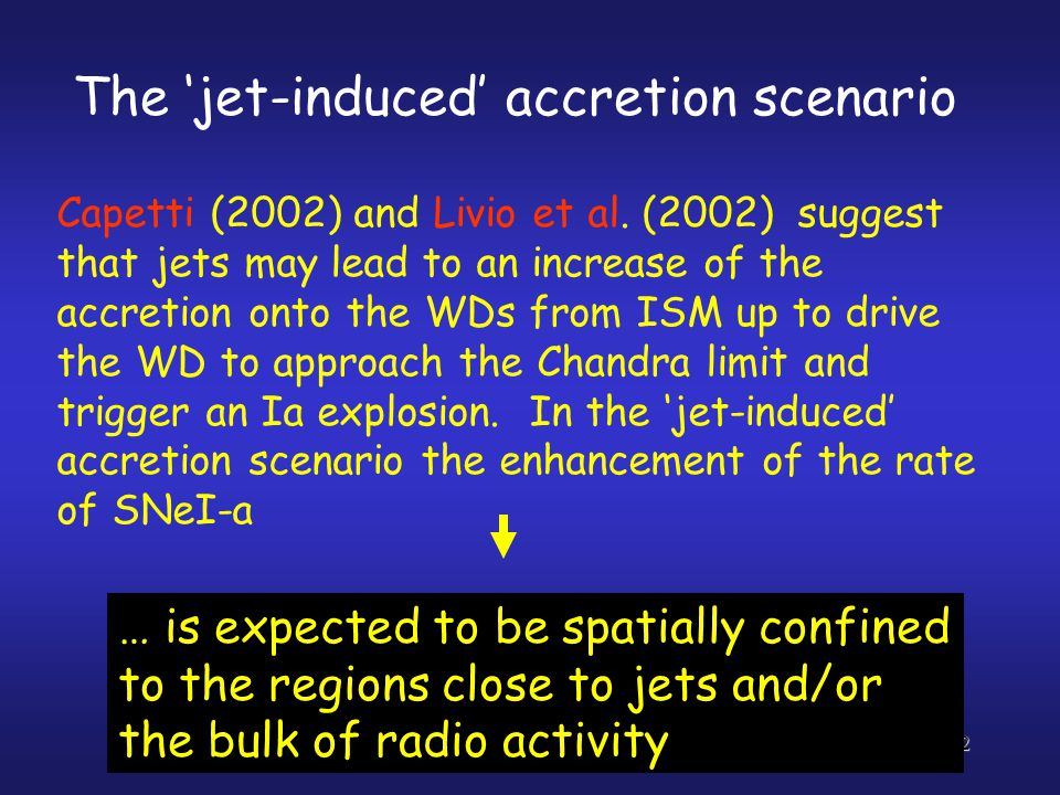 12 … is expected to be spatially confined to the regions close to jets and/or the bulk of radio activity The 'jet-induced' accretion scenario Capetti