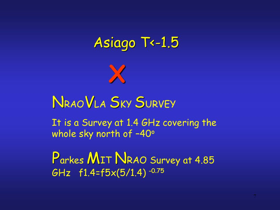 NVSS N RAO V LA S KY S URVEY It is a Survey at 1.4 GHz covering the whole sky north of –40 o PMN P arkes M IT N RAO Survey at 4.85 GHz f1.4=f5x(5/1.4)