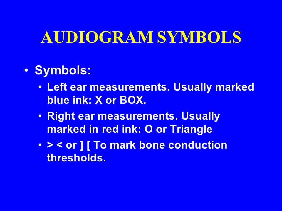 AUDIOGRAM SYMBOLS Symbols: Left ear measurements. Usually marked blue ink: X or BOX. Right ear measurements. Usually marked in red ink: O or Triangle